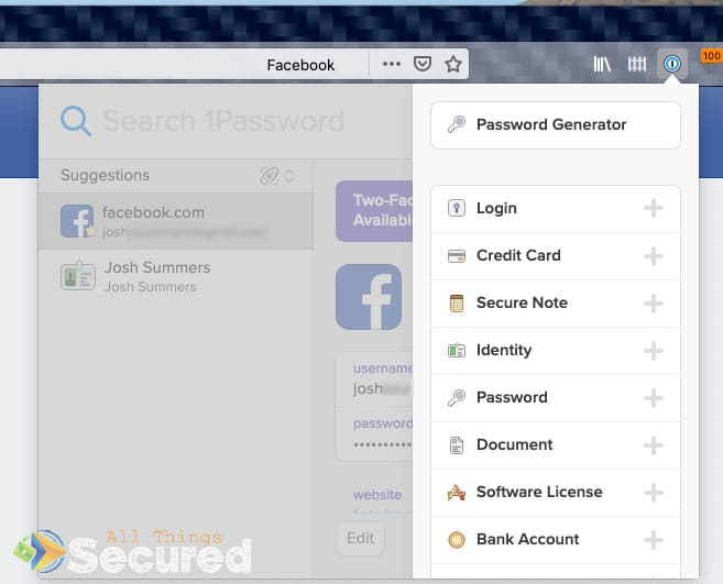 The 1Password browser extension for Firefox