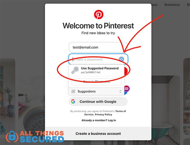 1Password suggests a new secure password for Pinterest