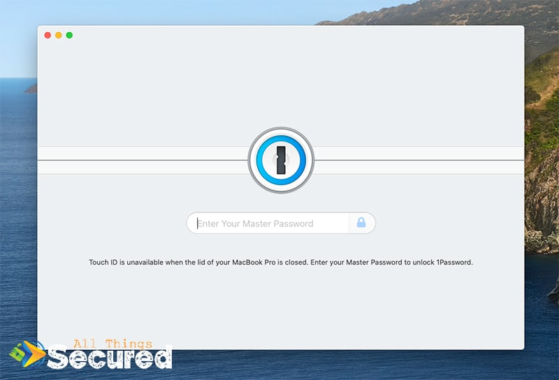 The home screen of the 1Password desktop app, requesting a master password