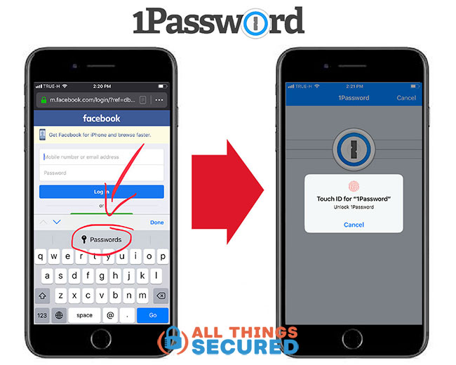 1Password mobile app iPhone example screen