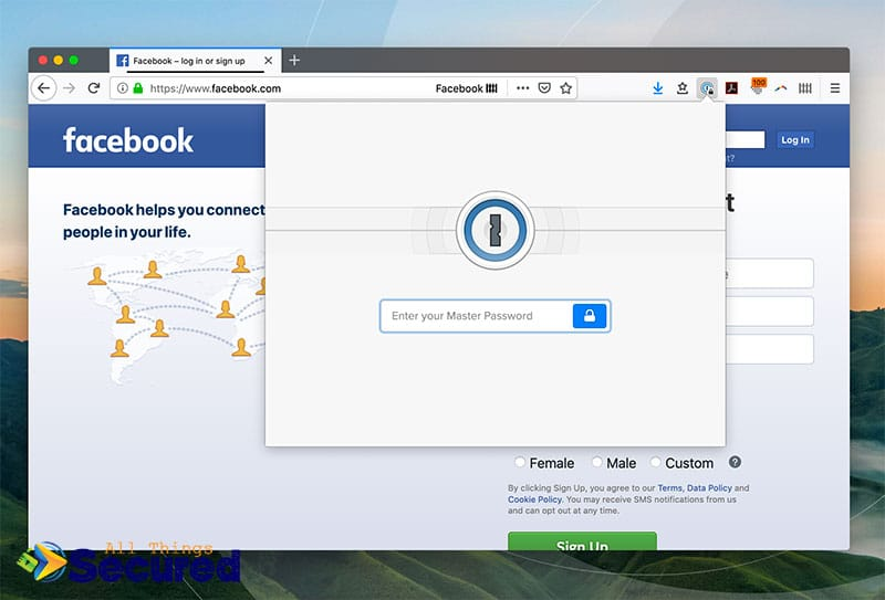 Enter your master password for 1Password's browser extension