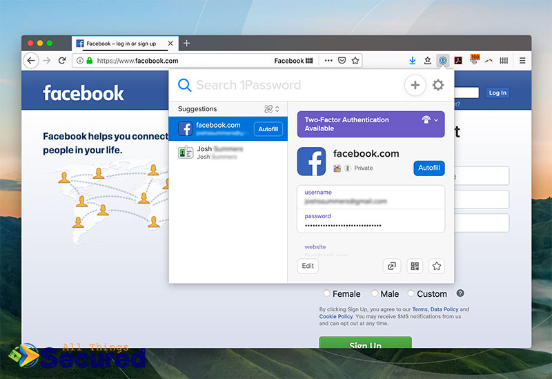 Selecting autofill for the 1Password browser extension