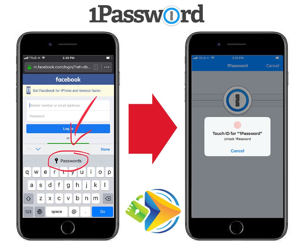 Auto-fill a password using the 1Password mobile app