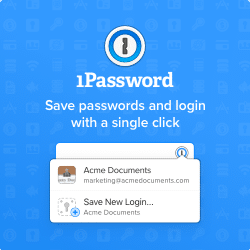 Save passwords using 1Password