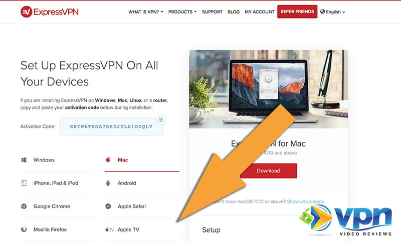 The ExpressVPN Device Setup page in your account