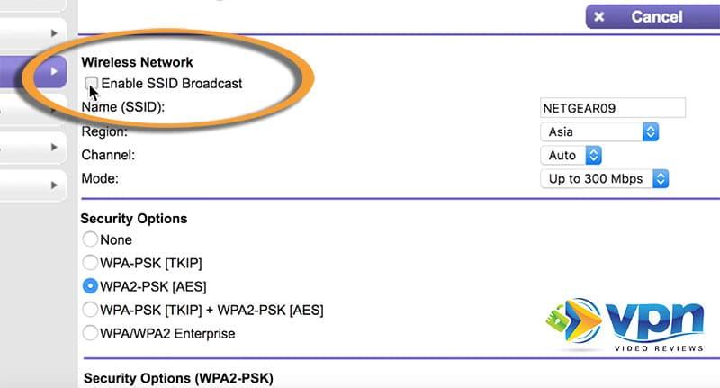 Netgear SSID Broadcast setting for hidden networks