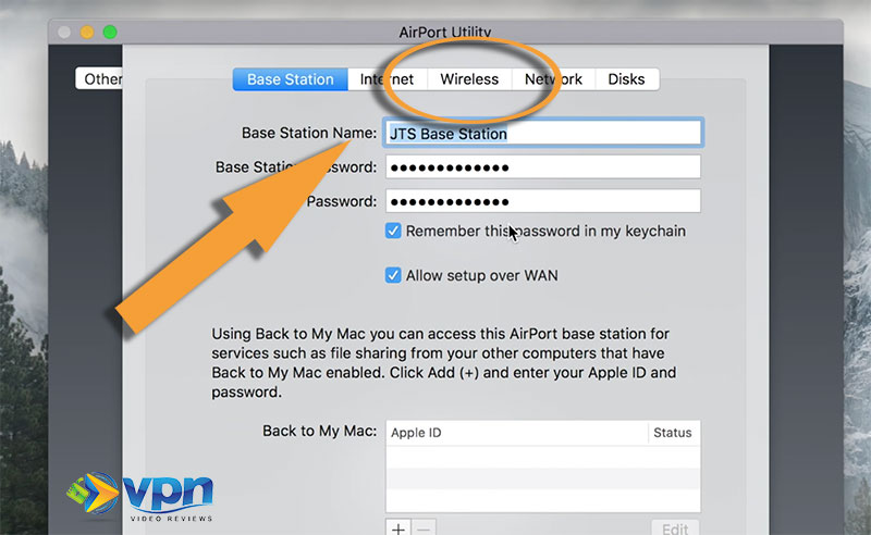 """Click """"Wireless"""" in the Apple Airport settings"""