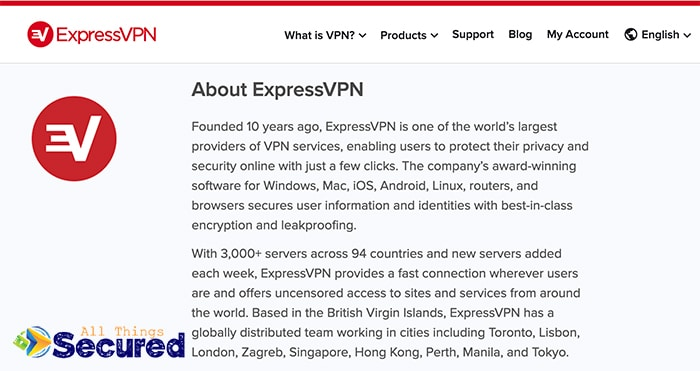Text from the ExpressVPN About Page in 2019 vaguely explaining the company.