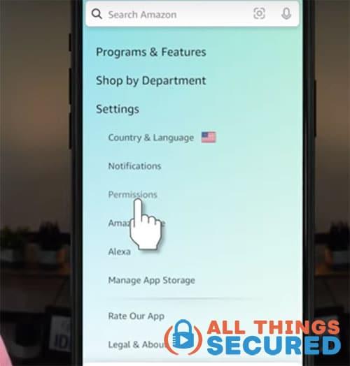Amazon mobile app settings