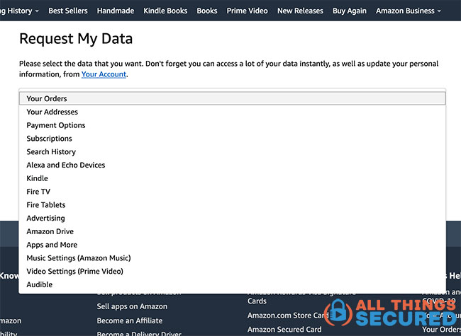Amazon request my data page