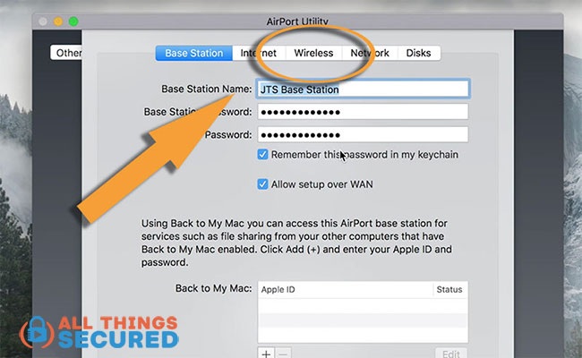 "Click ""Wireless"" in the Apple Airport settings"