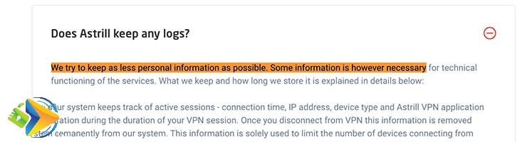 Astrill privacy policy saying they do log some data