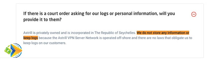 Astrill privacy policy example describing how they store user info.