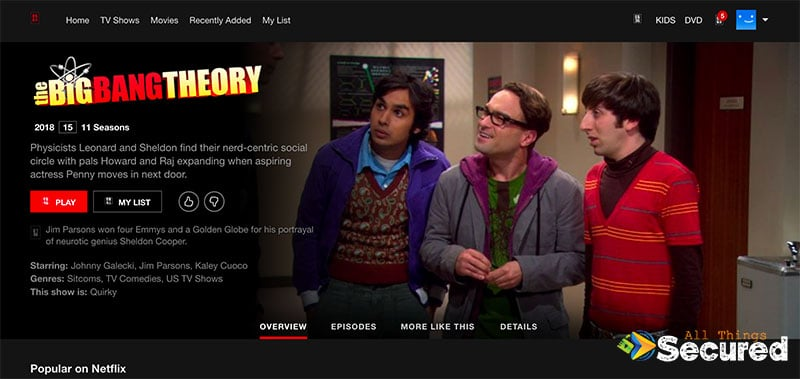 The Big Bang Theory Netflix page on the website