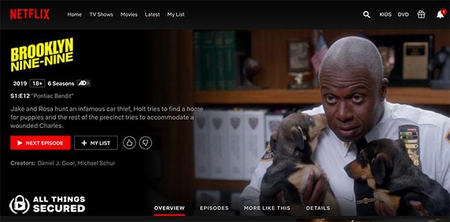 The Brooklyn Nine-Nine show page on international Netflix