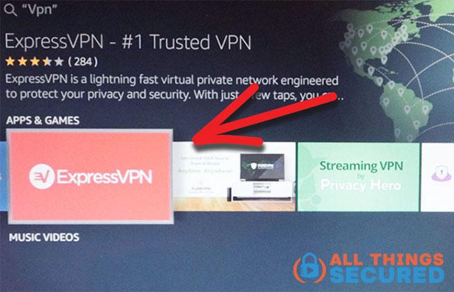 Choose your VPN app on Fire TV Stick
