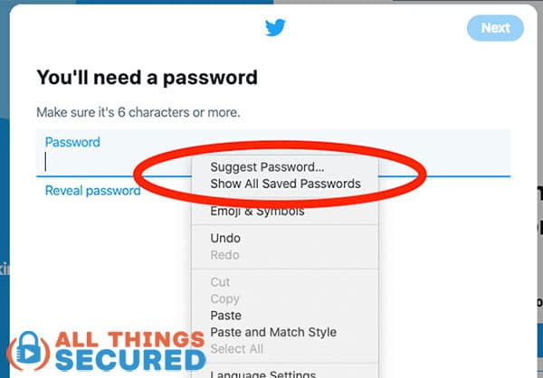 Google Chrome suggest a password feature