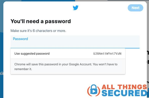 A weak password generated by Google Chrome
