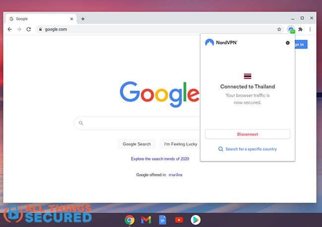 VPN Chrome extension on Chromebook