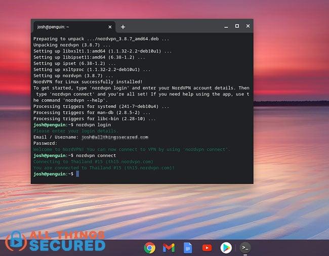 Chromebook Linux app VPN setup