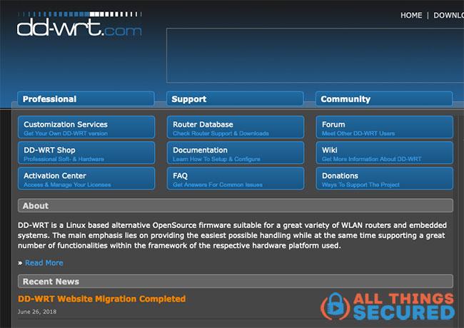 DD-WRT website screenshot