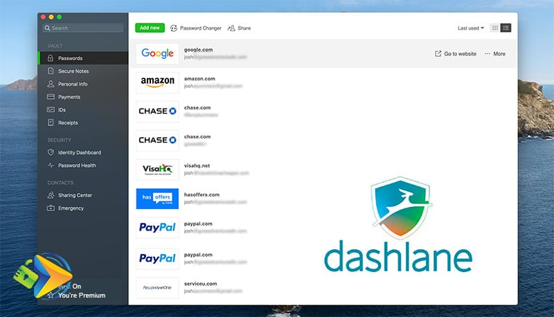 Dashlane's desktop app screenshot to compare vs 1Password