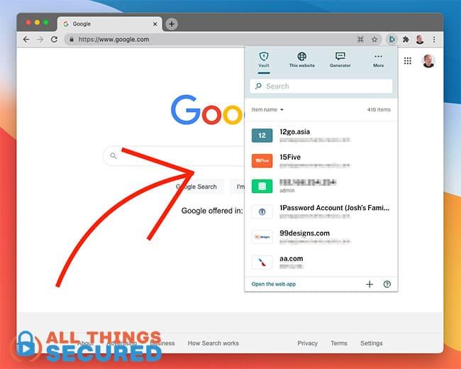 Dashlane browser extension for Chrome