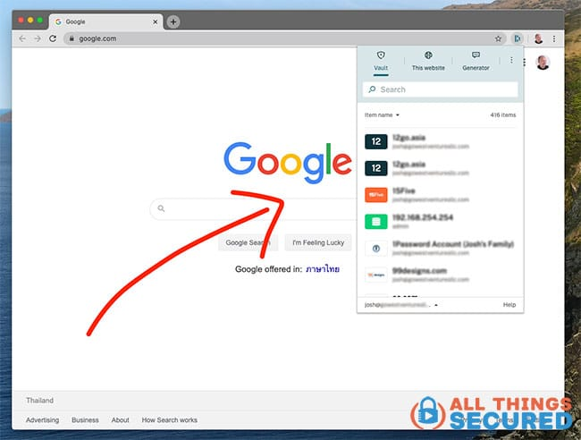 Dashlane browser extension for Chrome