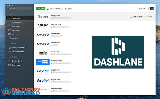 Dashlane's desktop app screenshot to compare vs 1Password
