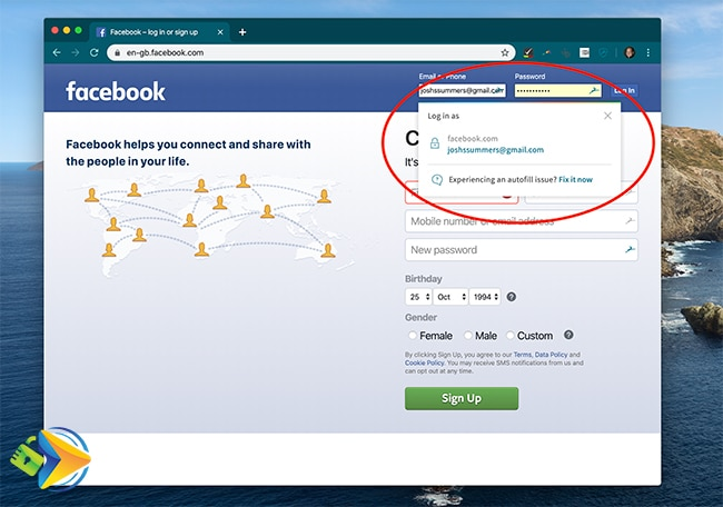Logging into Facebook using Dashlane password manager