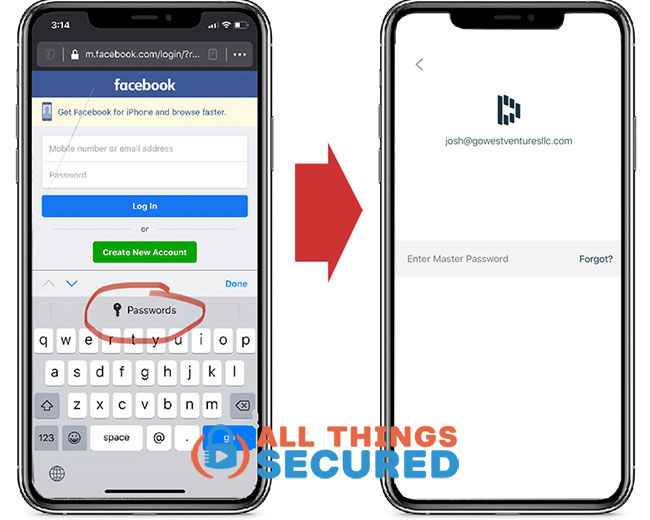 Dashlane mobile app login requires your master password