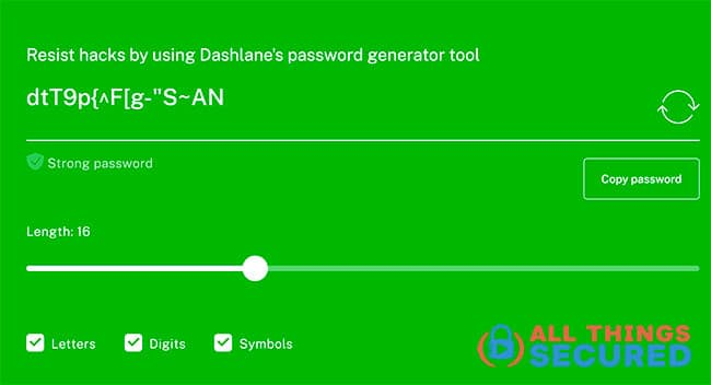 Dashlane's Password generator