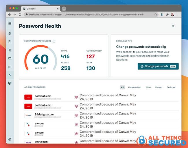 Dashlane password health report