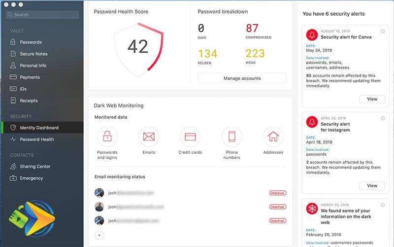 Dashlane's Identity Dashboard on the desktop app