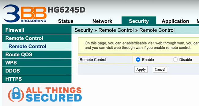 Turn off WiFi router remote access setting