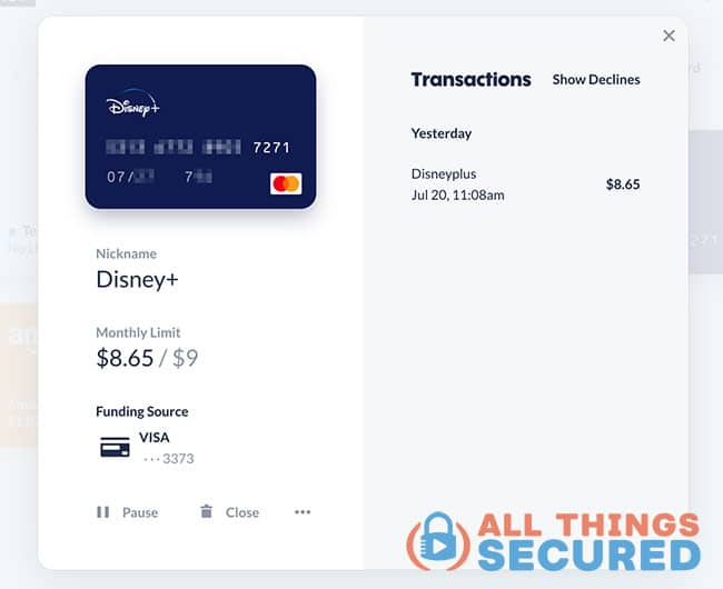 Disney+ virtual credit card