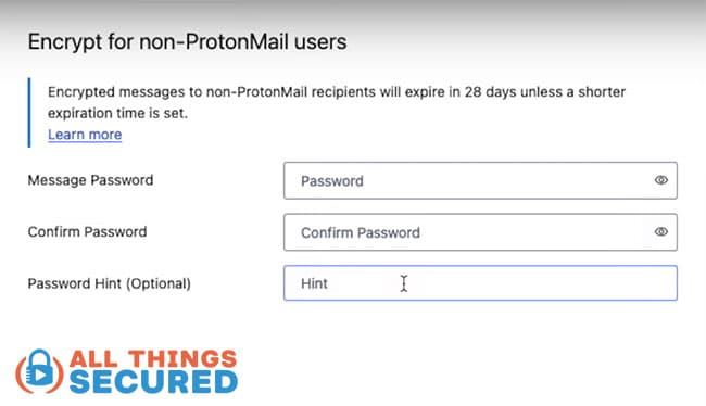 ProtonMail Encrypt email for outside users