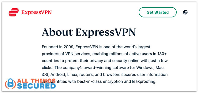 Text from the ExpressVPN About Page in 2021 vaguely explaining the company.