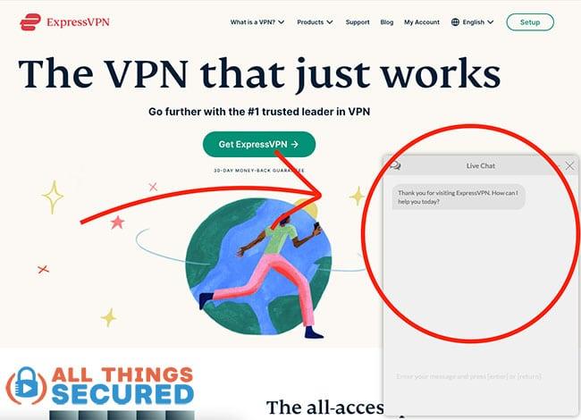 ExpressVPN Live Chat support on their website