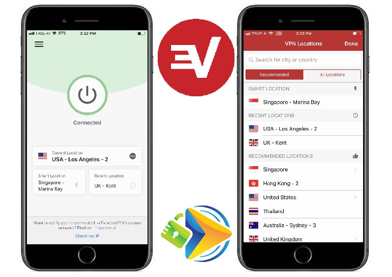 ExpressVPN Mobile app start page and servers page