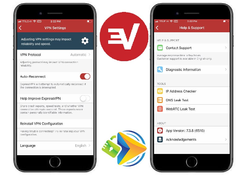 ExpressVPN mobile app settings and contact pages