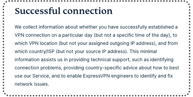 Excerpt from ExpressVPN's privacy policy on data that they log