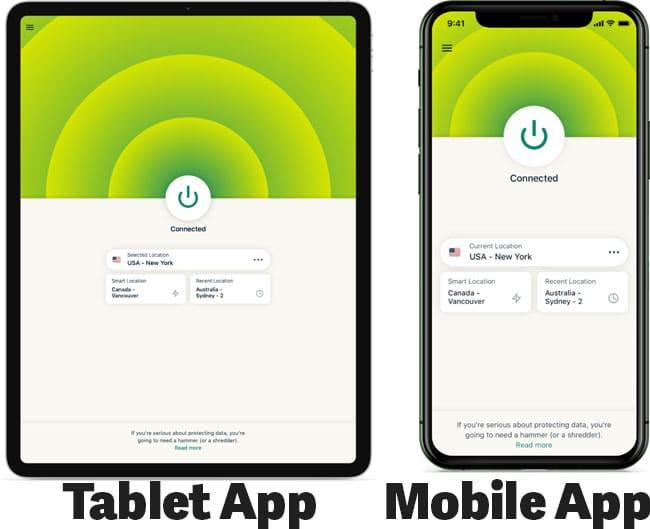 ExpressVPN Tablet device and mobile app