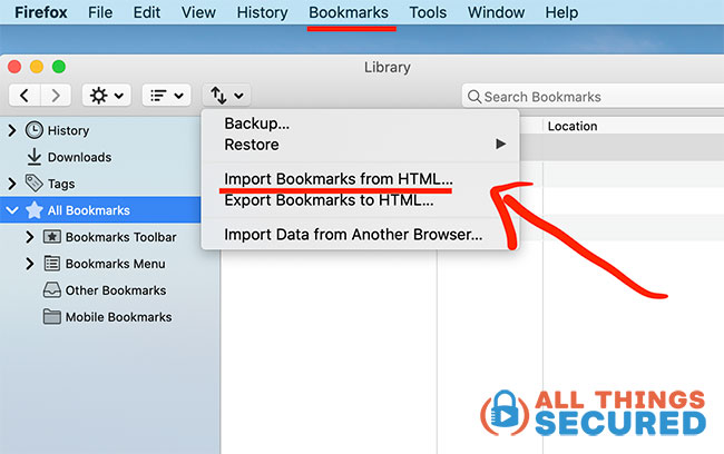 Firefox bookmarks import tool