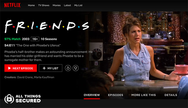 The Friends page on Netflix international