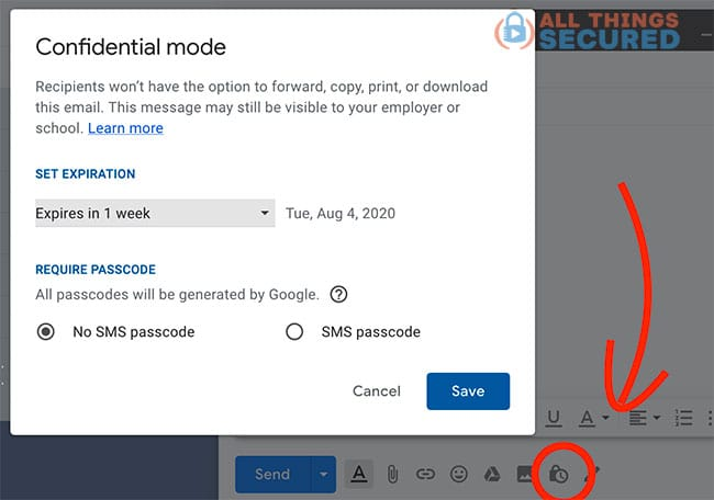 Using Gmail's confidential mode to send a secured email