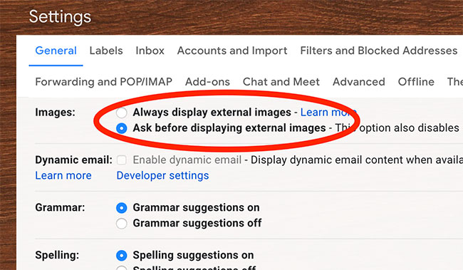 External images setting in Gmail