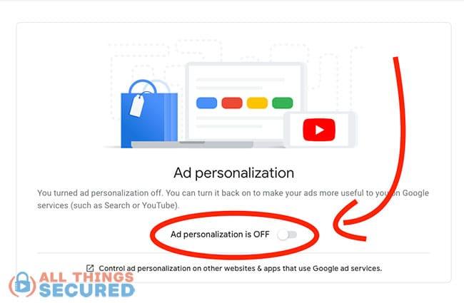 Turn off Google Ad personalization