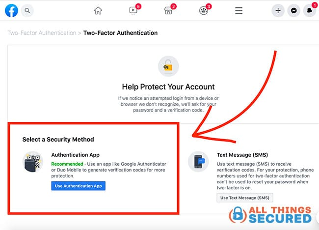 Find the 2-factor authentication settings in your desired online account