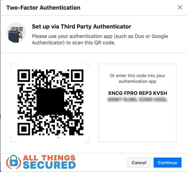 Example 2FA barcode or manual code